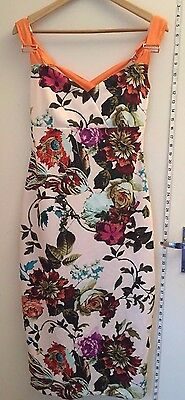 115eaaa34c2a7d TED BAKER Amabel Dress Size 4 UK 14 Floral Bodycon Cross Strap Celebs Towie