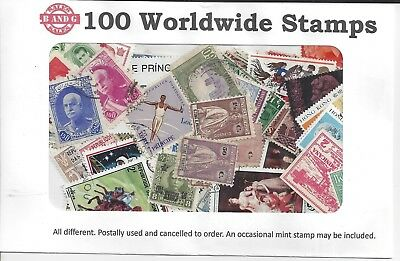 Packet of 100 Worldwide Stamps All Different off Paper