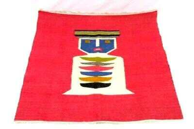Vintage Hand Woven Rug Native American Style Red Multicolored