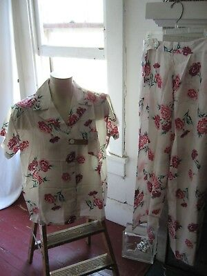 Vtg 1930's Lingerie Pajamas Pj's Lounging Palazzo 38-M Floral High Waist Nw Tag!