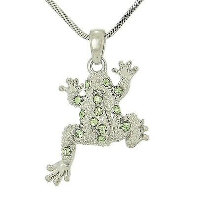Frog Made With Swarovski Crystal Jungle Light Green Pendant Necklace Jewelry