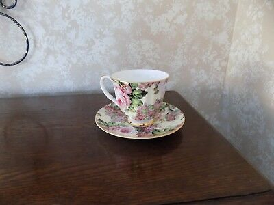 Vintage Mayfair Made in Staffordshire Englnad Fine Bone China Cup & Saucer Roses