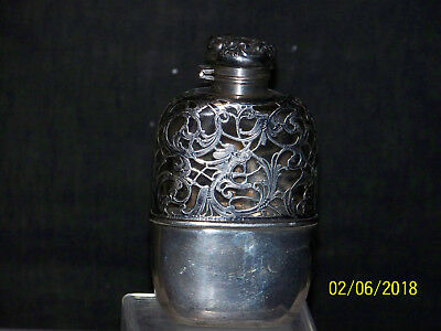 Antique Sterling Silver Dragon Oriental Design Hip Flask
