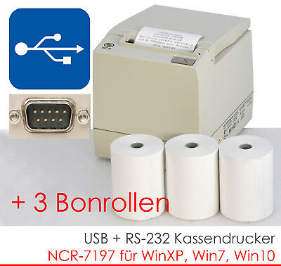USB RS232 BONDRUCKER KASSENDRUCKER BONPRINTER NCR-7197 WINDOWS 7 XP 3xBONROLL MM