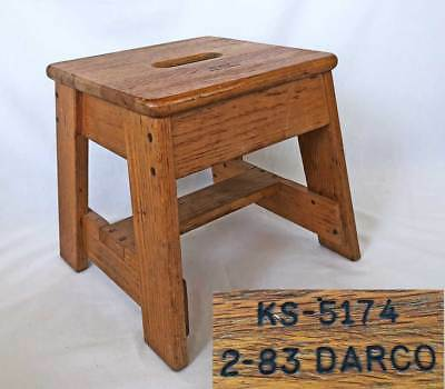 Antique Vintage Darco Bell Telephone System Wood Oak Step Stool Wooden Seat