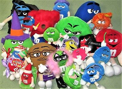 """21 M&M Plush Lot M&M's Mars Stuffed Characters Collectible RED TEDDY BEAR 7""""-18"""""""
