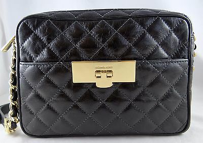 857faddcda25 Michael Michael Kors Susannah Lock Quilted Black Leather Medium Messenger  Bag
