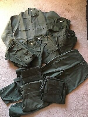 Vintage Olive Green Military Sateen Lot 4 Trousers 6 Shirts OD Vietnam? S/M