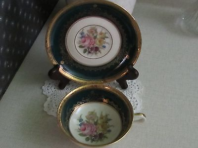 THOMAS IVORY Bavaria Germany China Beautiful Wide Mouth Floral Teacup and Saucer