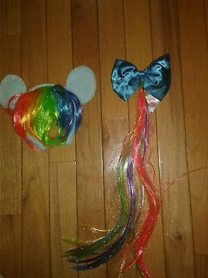 GIRLS MY LITTLE PONT RAINBOW COSTUME 2 PK HEADBAND & BOW  fits 3 TO 5