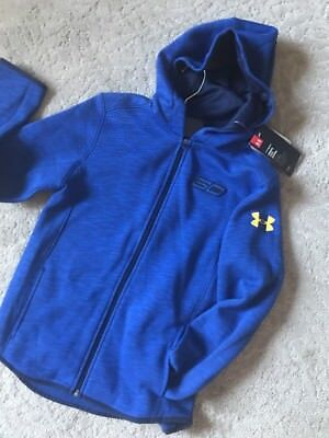 Boy's Under Armour Steph Curry Hooded Sweatshirt Zipper Front Coldgear Blue  YMD