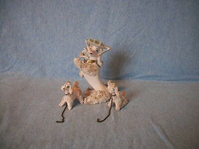 Vintage 3 Piece Japan Pink Spaghetti Poodle Set with Puppies & Chain