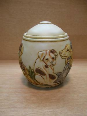"Martin Perry Studios Jardinia ""SITTING PRETTY"" Dog Puppy Trinket Cachepot Box"