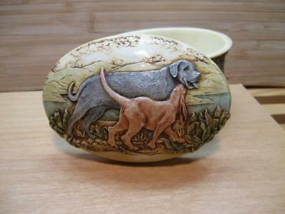 "Martin Perry Studios Jardinia ""TALLY HO"" Dog Puppy Beware of the Dog Trinket Box"