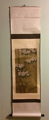 Beautiful Asian Scroll of Cherry Blossom Tree, Dark Wood Ends, Signed, Seal