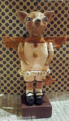 Whimsical Folk Art Vintage Style Chihuahua Dog Doll Handmade New