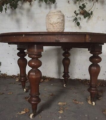 Victorian Antique Round Mahogany & Oak Dining Table Chunky Turned Legs & Castors