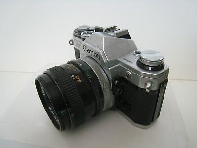 The vintage CANON AE1 And The Lens 1:1.4 f=50mm. JAPAN. Works