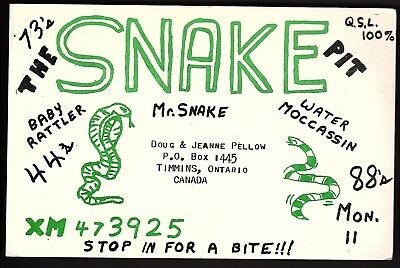 """QSL QSO RADIO CARD """"The Snake Pit"""", Timmins, ON Canada (Q732)"""