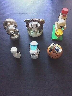 Lot of 6 Snoopy Vintage Collectibles Swing Banks Salt Shaker Drummer