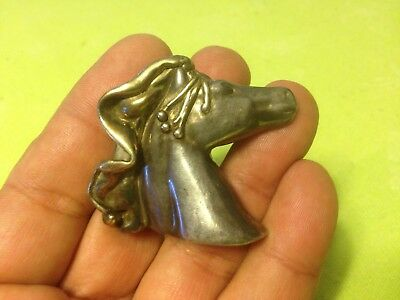Large 3D VINTAGE STERLING 925 HORSE PIN BROOCH SIGNED JEM