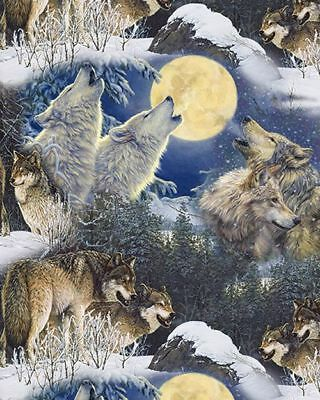 Wolves Howling Full Moon Midnight Blue Cotton Quilting Fabric 1/2 YARD