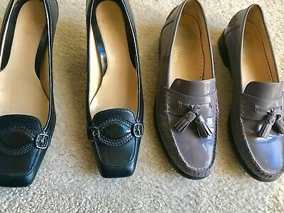 Two Pairs Of Women's Cole Haan Leather Shoes 8.5. Good Condition.