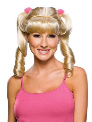 Adult Blonde Cheerleader Pigtail Costume Wig
