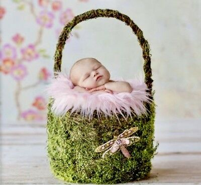Moss Covered Easter Themed Basket Newborn Photo Prop