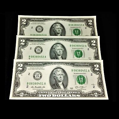 $2 Bill RARE NEW Uncirculated Consecutive Order Two Dollar Federal Reserve Note
