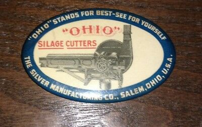 "Antique Vintage Celluloid Advertising Oval Pocket Mirror, ""Ohio"" Silage Cutters"