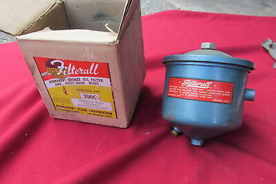 NOS Vintage Oil Filter Canister Filterall Permanent Bronze Oil Filter  Universal