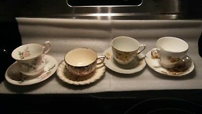 Lot of 4 Vintage Tea cup and Saucer Sets English Bone China , Japan Very Fine.