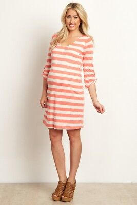 Pink Blush Maternity Coral Heathered Striped 3/4 Sleeve Maternity Dress XL New
