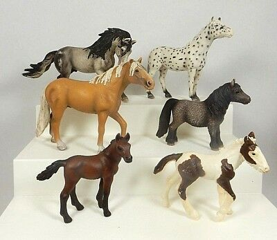 Schleich Horses Lot of 6 Appaloosa Palomino Andalusian Bay Foal Painted Foal