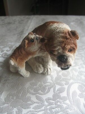 Lge Stone Critter English Bulldog Mother And Puppy Pulling At Her Ear Sc 814 Usa