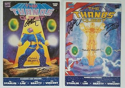 Thanos Quest # 1 & 2 Signed By Jim Starlin, Ron Lim & Beatty. Infinity Gauntlet