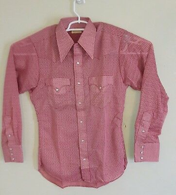 Vintage Miller Western Wear Button Up Pearl Snap Cowboy Shirt. Size 15-34
