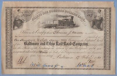 1860 Stock Certificate Baltimore & Ohio Railway #27713 T J Carson 167 shares