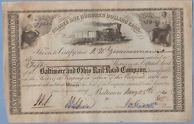 1860 Stock Certificate Baltimore & Ohio Railway #27623 Zimmerman 50 shares