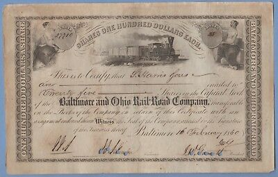 1860 Stock Certificate Baltimore & Ohio Railway #27710 Harris & Sons 25 shares