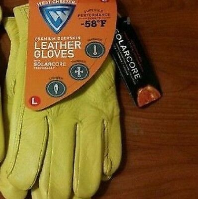 West Chester Premium Deerskin Leather Cold Weather Gloves With SolarCore L
