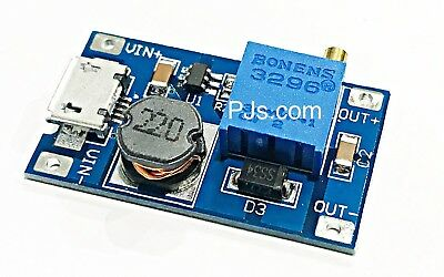 DC-DC 2/24V to 5/9/12/28V 2A Boost Step Up Adjustable Regulator Power Module
