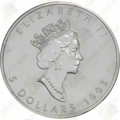 1993 Canadian Silver Maple Leaf — 1 Oz — Uncirculated — Sku #12005