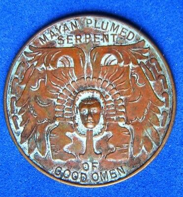 1933 WORLD FAIR CHICAGO MAYAN PLUMED SERPENT ANTIQUE LUCK TOKEN COIN Best Match