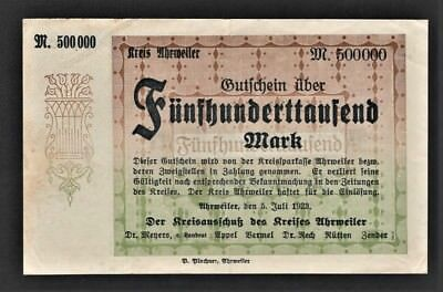 vad - AHRWEILER - 500,000 MARK INFLATION NOTE - 1
