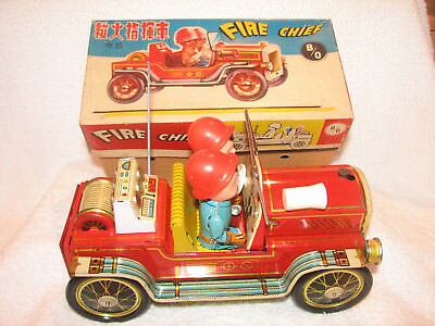 Vintage Fire Chief Tinplate Battery Operated NMIBOX