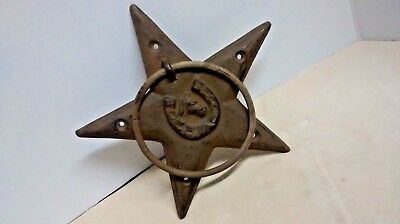 Cast Iron Rustic STAR W/HORSESHOE & HEAD DOOR KNOCKER / TOWEL RING