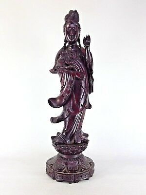 Japanese antique vintage lacquer wood carving Kannon bodhisattva statue chacha
