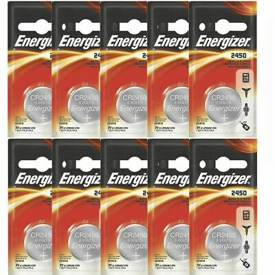 10 Pcs Energizer CR2450 ECR2450 CR 2450 3V Lithium Coin Cell Button Battery